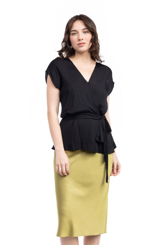 Surplice Blouse with Cinched Waist Tie in Black