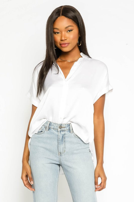 Satin Button Up Top