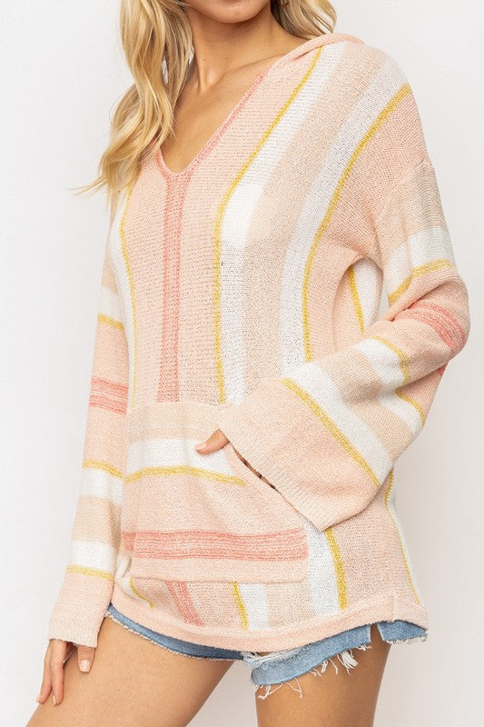 Multi Color Striped V Neck Hoodie