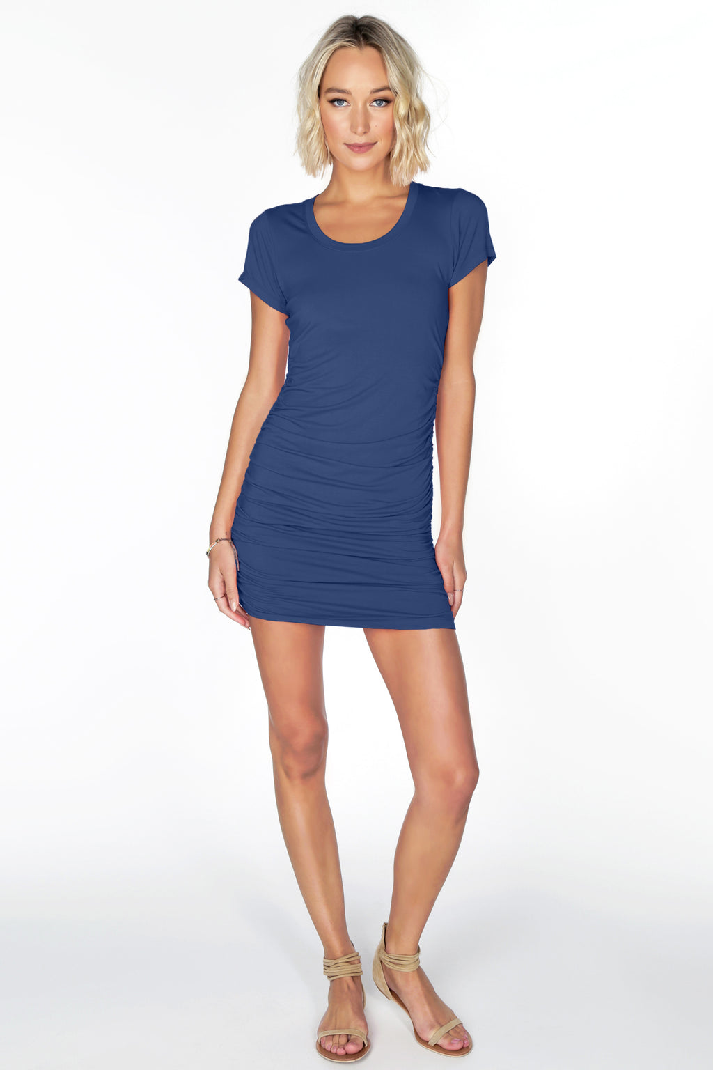 Short Sleeve Shirred Dress WAS 80 NOW 72 in Black or Navy