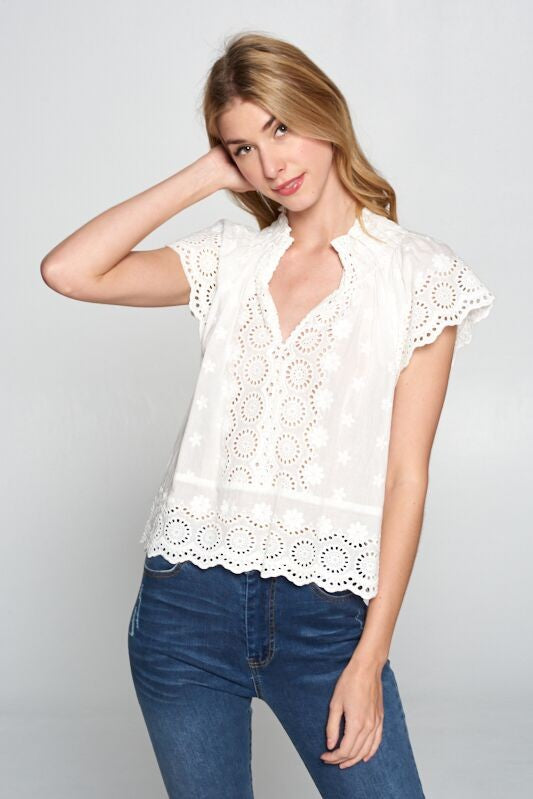 Eyelet Embroidery Top