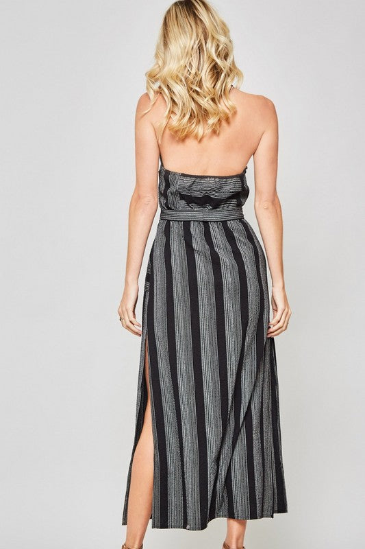 Striped Button-Down Belted Halter Maxi Shirt Dress