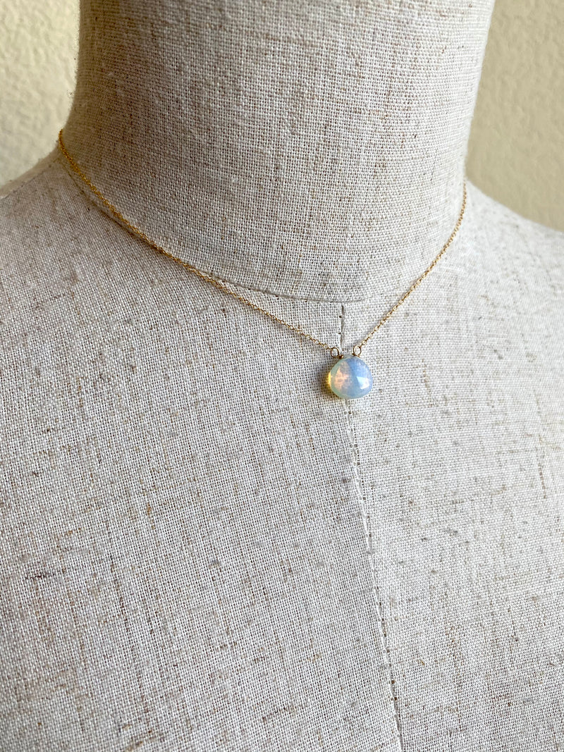 Moonstone Drop Back Necklace