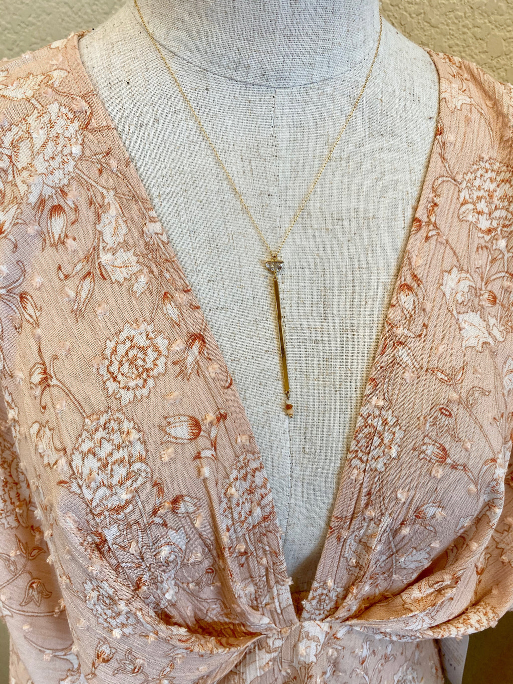 Gold Beaded Drop Necklace
