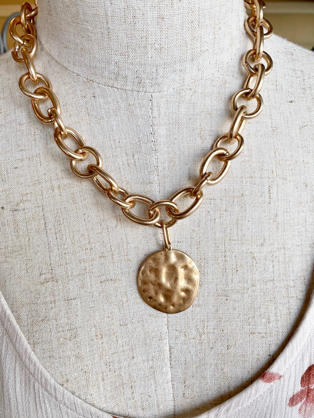 Gold Chain Link Statement Necklace