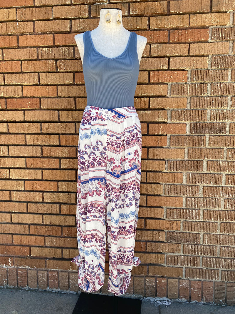 Printed Loose Wide Leg Pants