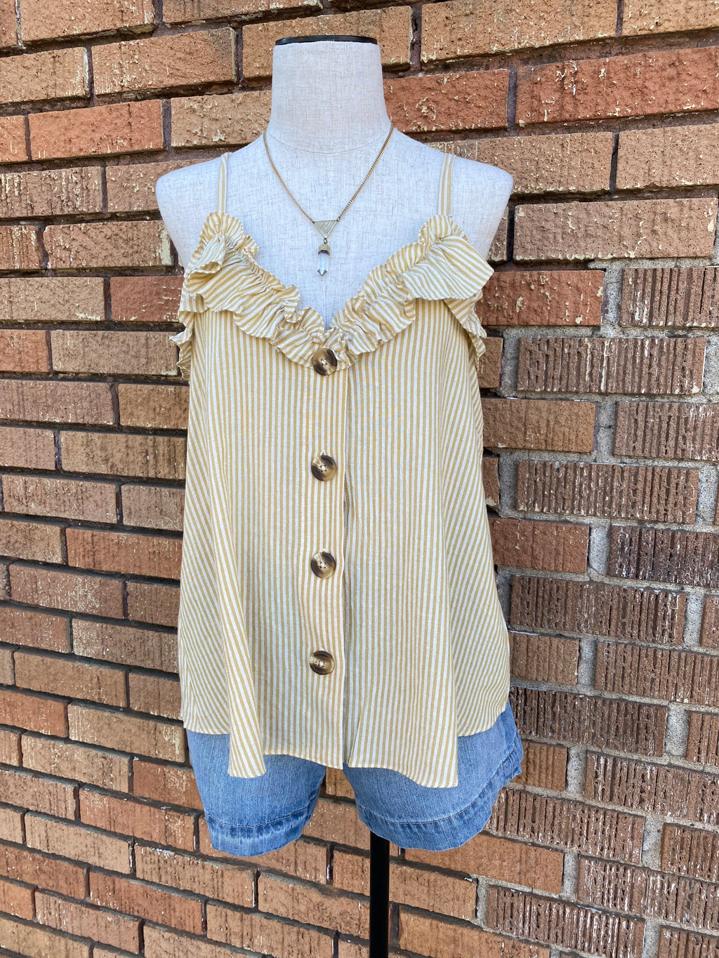 Striped Button Front Tank