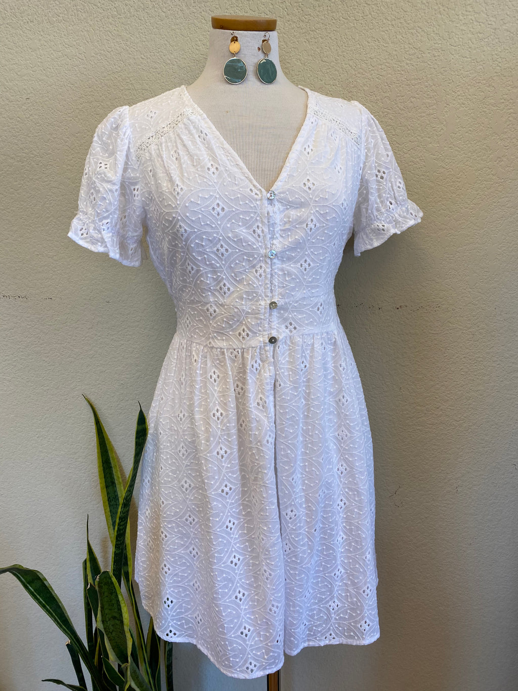 White Eyelet Button Down Dress