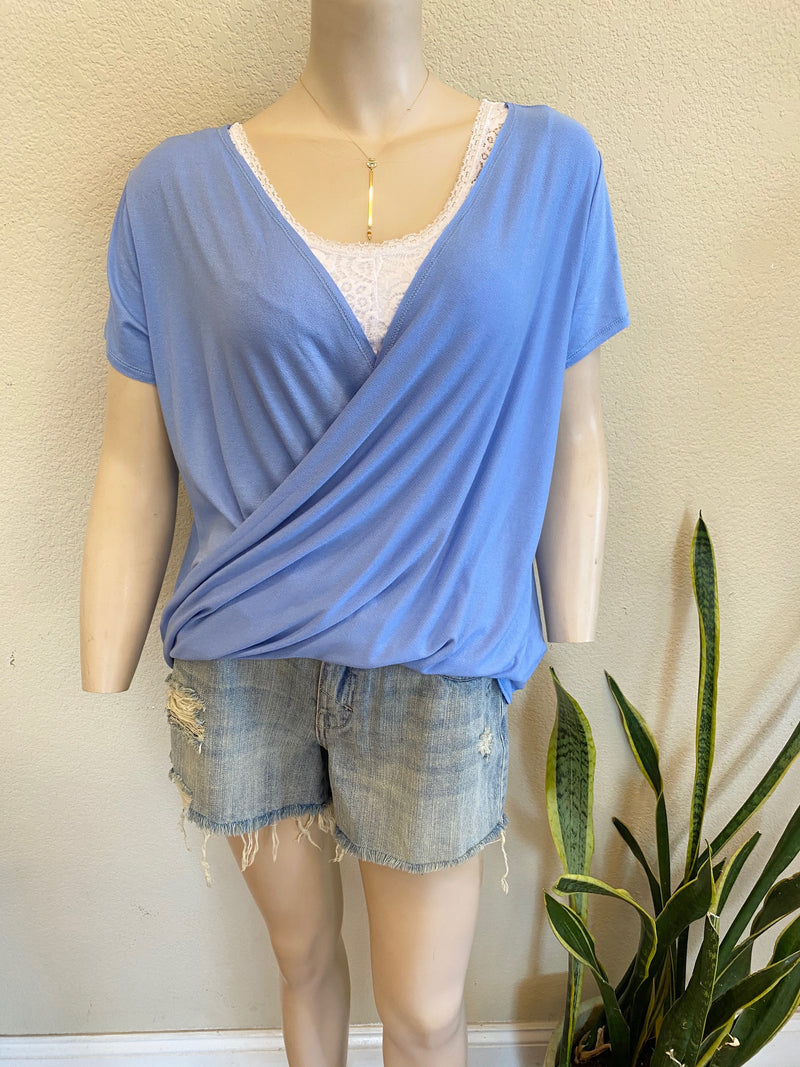Periwinkle Wrap Top