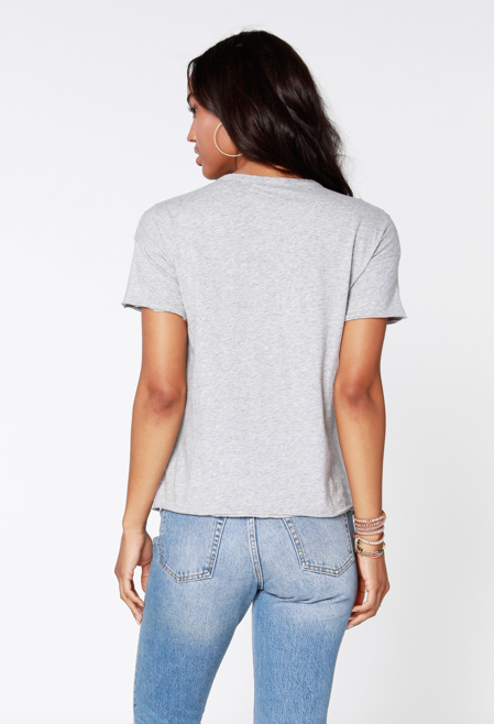 Cropped Pocket Tee in Grey or White