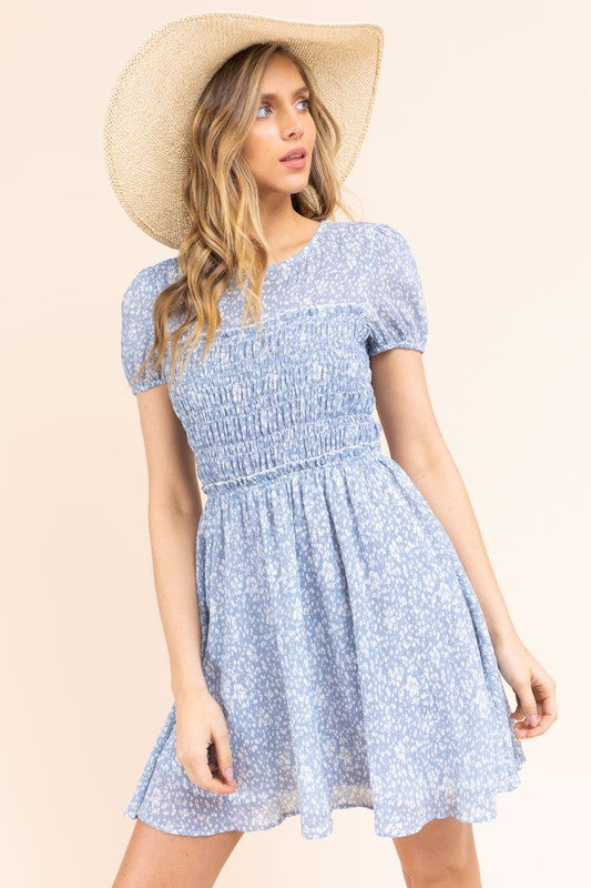 Short sleeve printed skater dress w/ smocking detail
