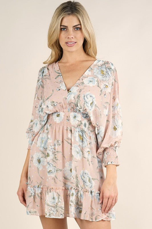 Pretty Floral Split Sleeve Mini Dress