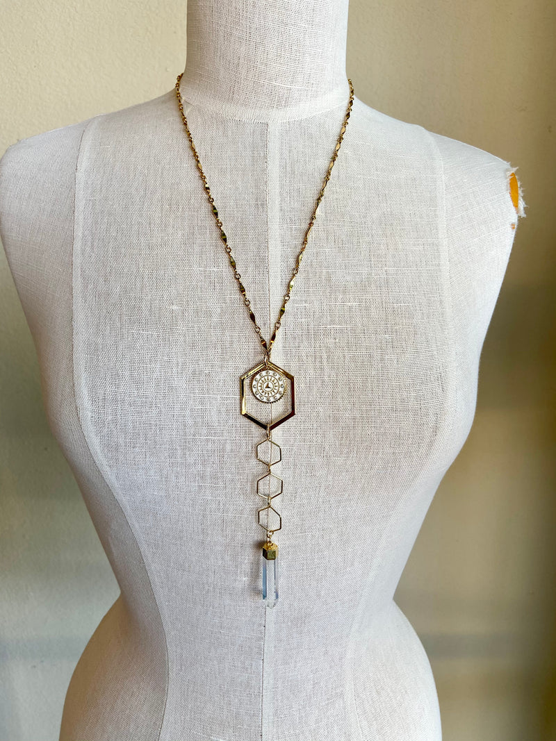 Sun Dial Crystal Necklace