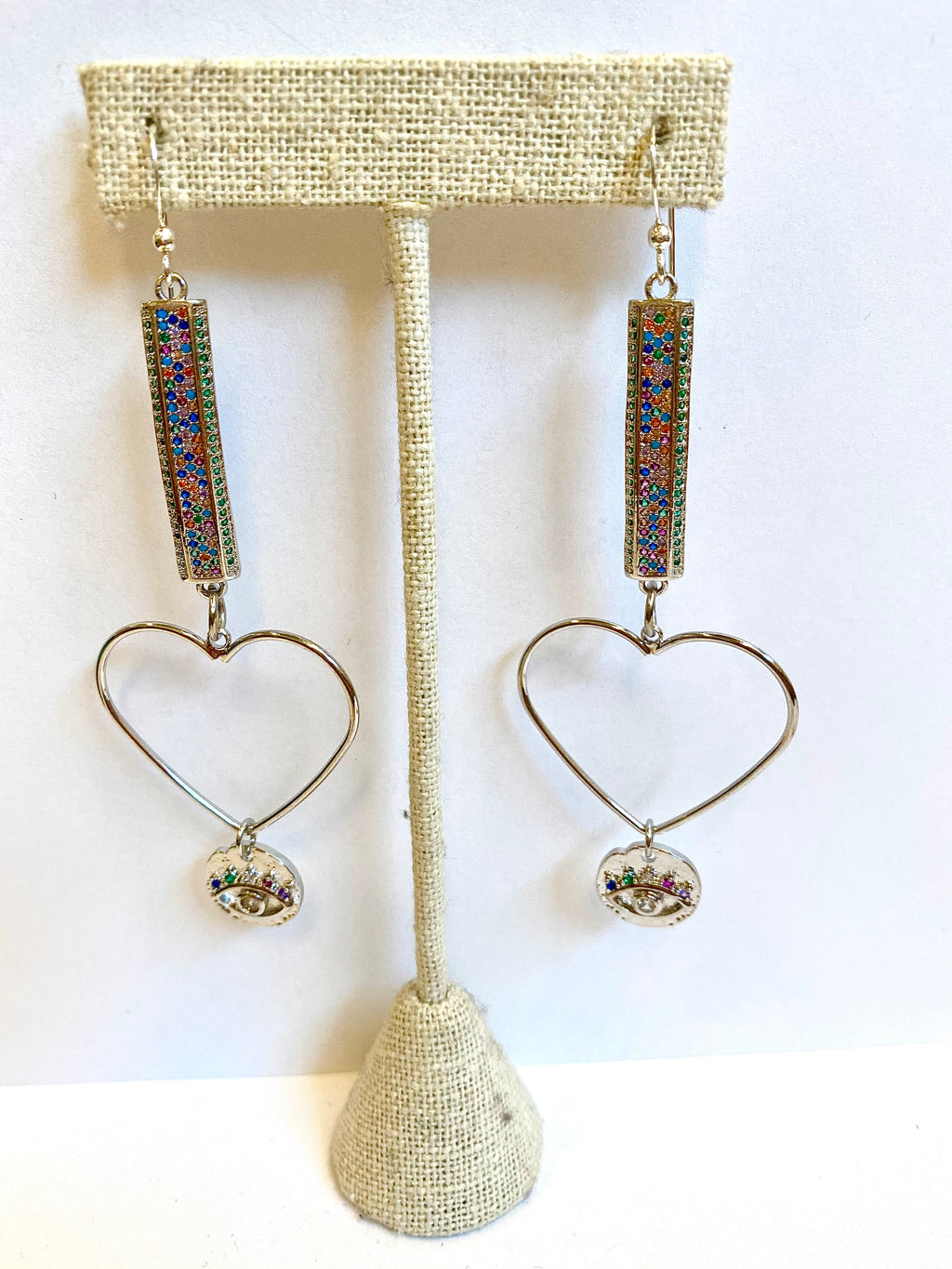 Silver Rainbow Hearts and Eye Earrings