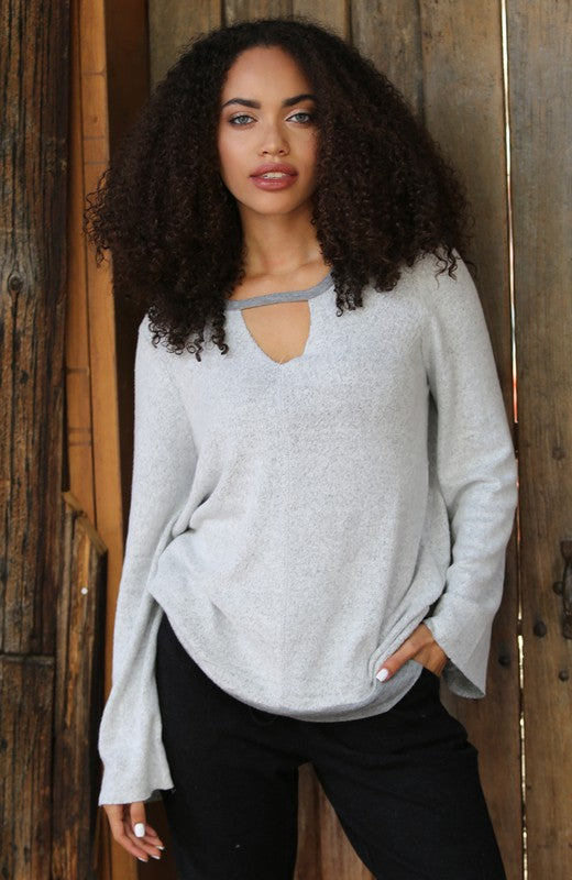 Grey Cut Out Knit Top