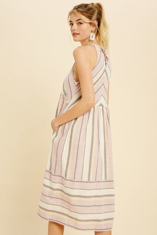 High Neck Woven Dress