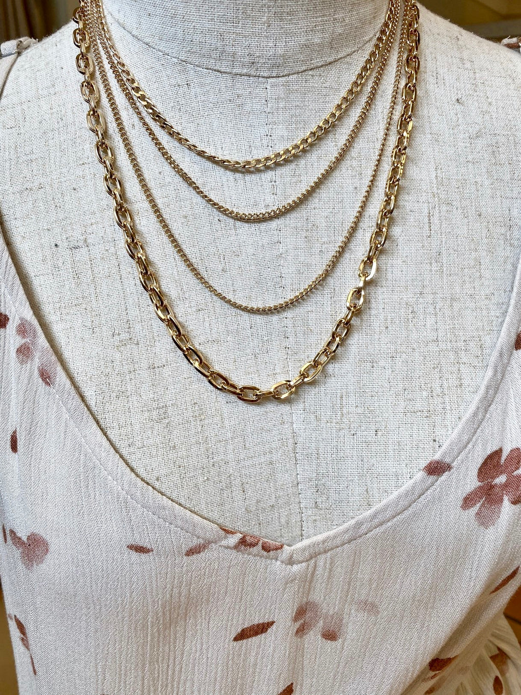 Gold Layered Mixed Chain Necklace