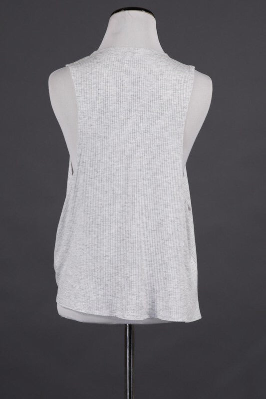 RIB JERSEY TANK WITH SIDE TIE HEM DETAIL