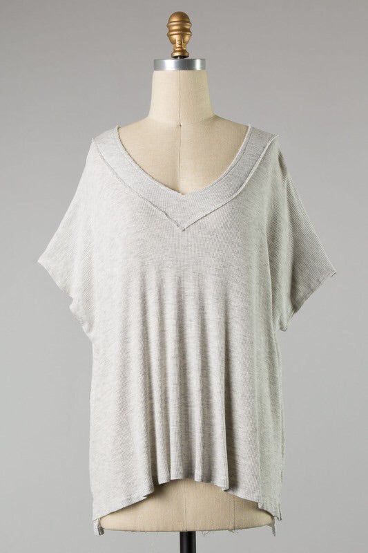 Lite grey  oversized v neck