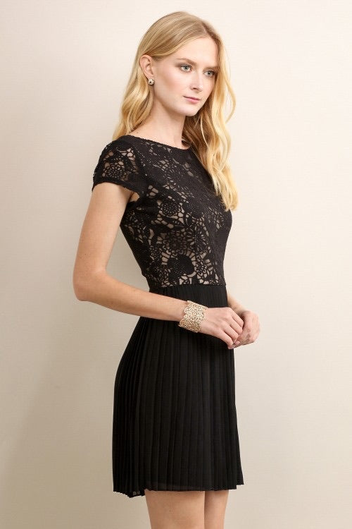 Pleated black formal dress