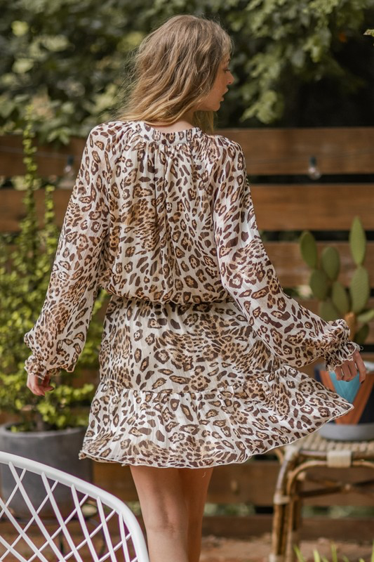 Leopard Long Sleeve Mini Dress