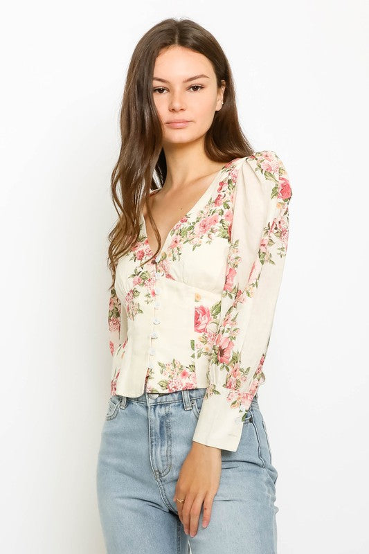 Floral Puff Sleeve Shirt