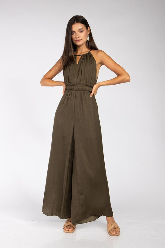 Strappy Rusching Wide Leg Jumpsuit
