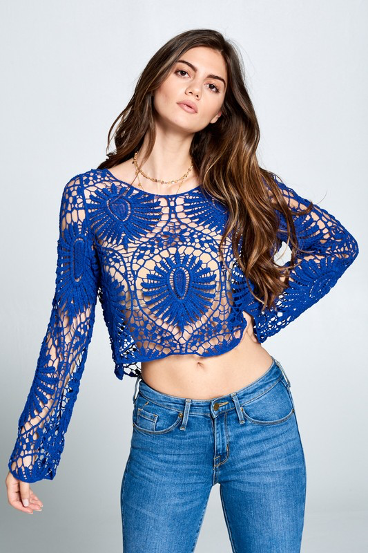 Long Sleeve Crochet Crop Top