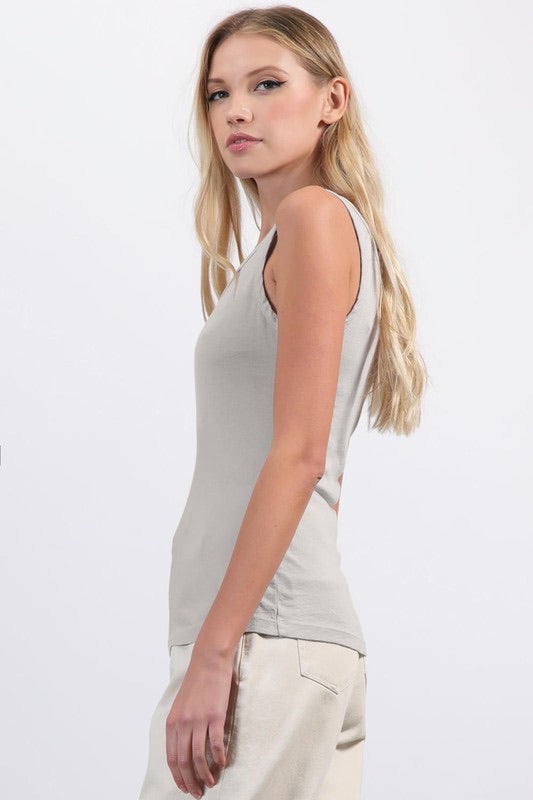 Cotton modal tank grey layering tank