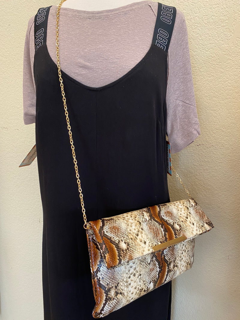 Neutral Snake Skin Clutch