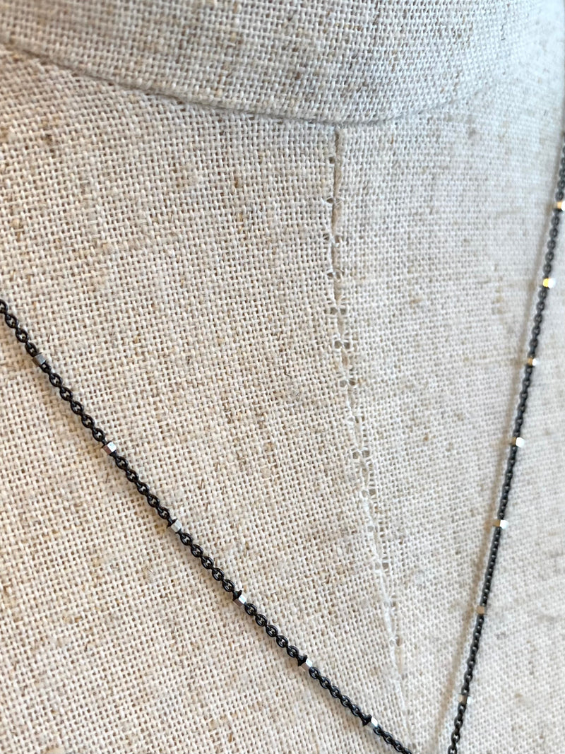 Oxidized Sterling Silver Chain Necklace