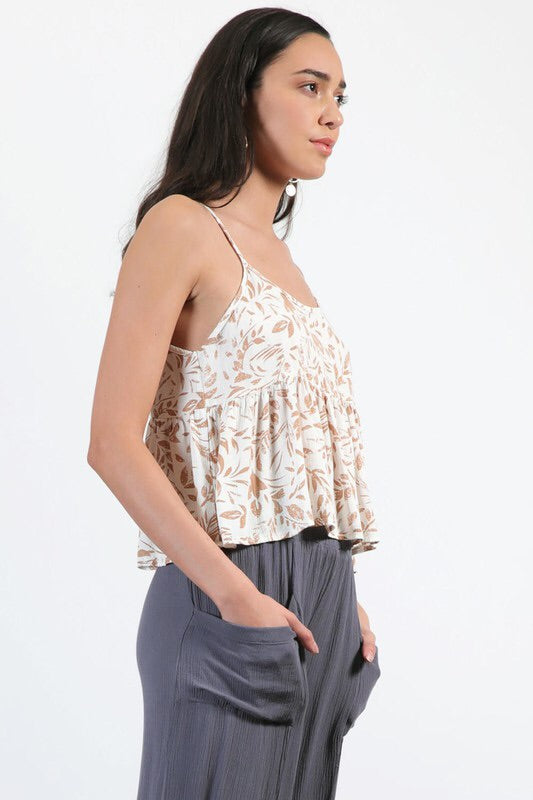 LINEN PRINT CRINKLE CROPPED BABYDOLL CAMI TOP
