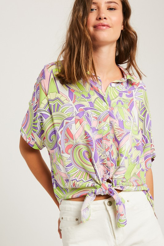 Printed Button Down Top