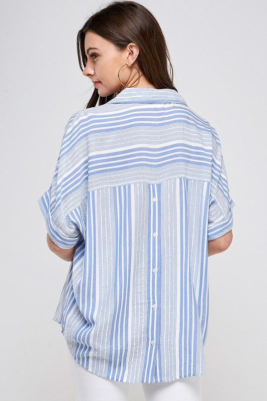 Striped Loose Fit Shirt with Back Button Detail