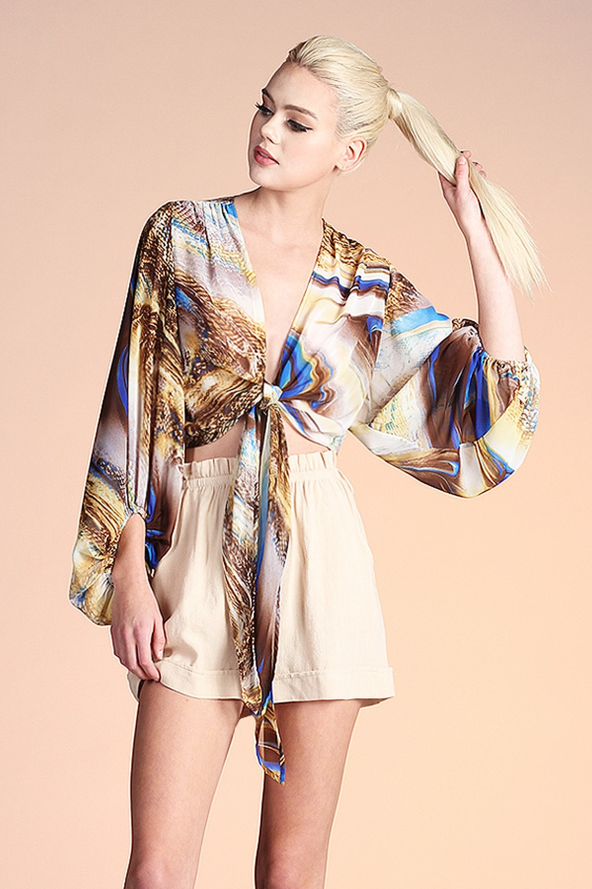 Printed Balloon Sleeve Wrap Top
