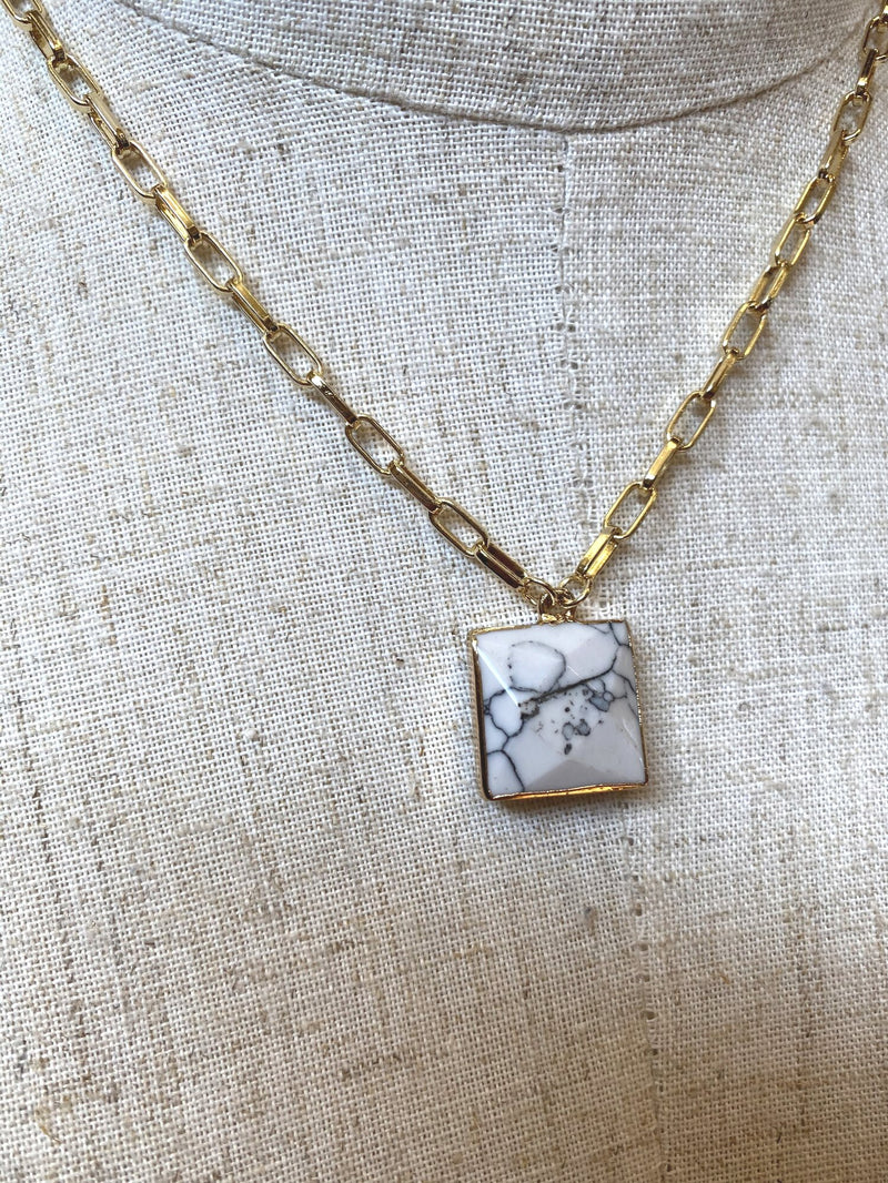 Square Natural Stone Necklace