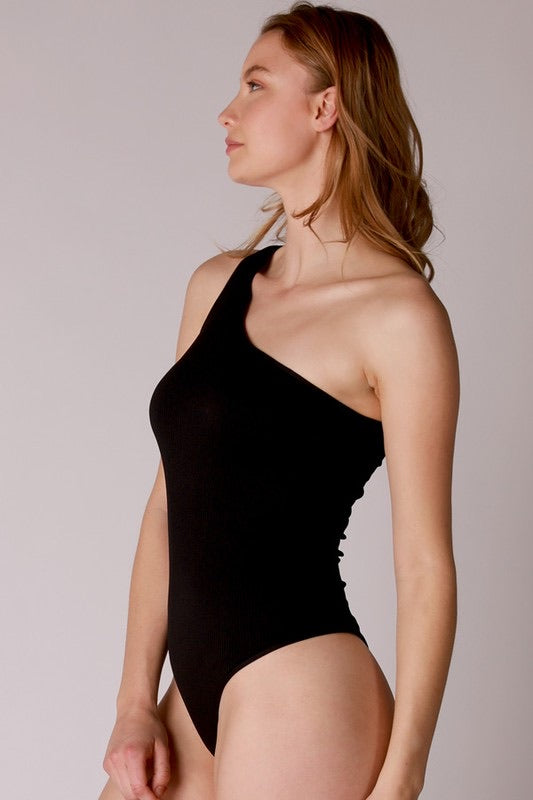 Ribbed One Shoulder Bodysuit