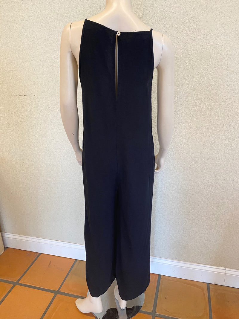 JACQUARD BLACK SLEEVELESS JUMPSUIT