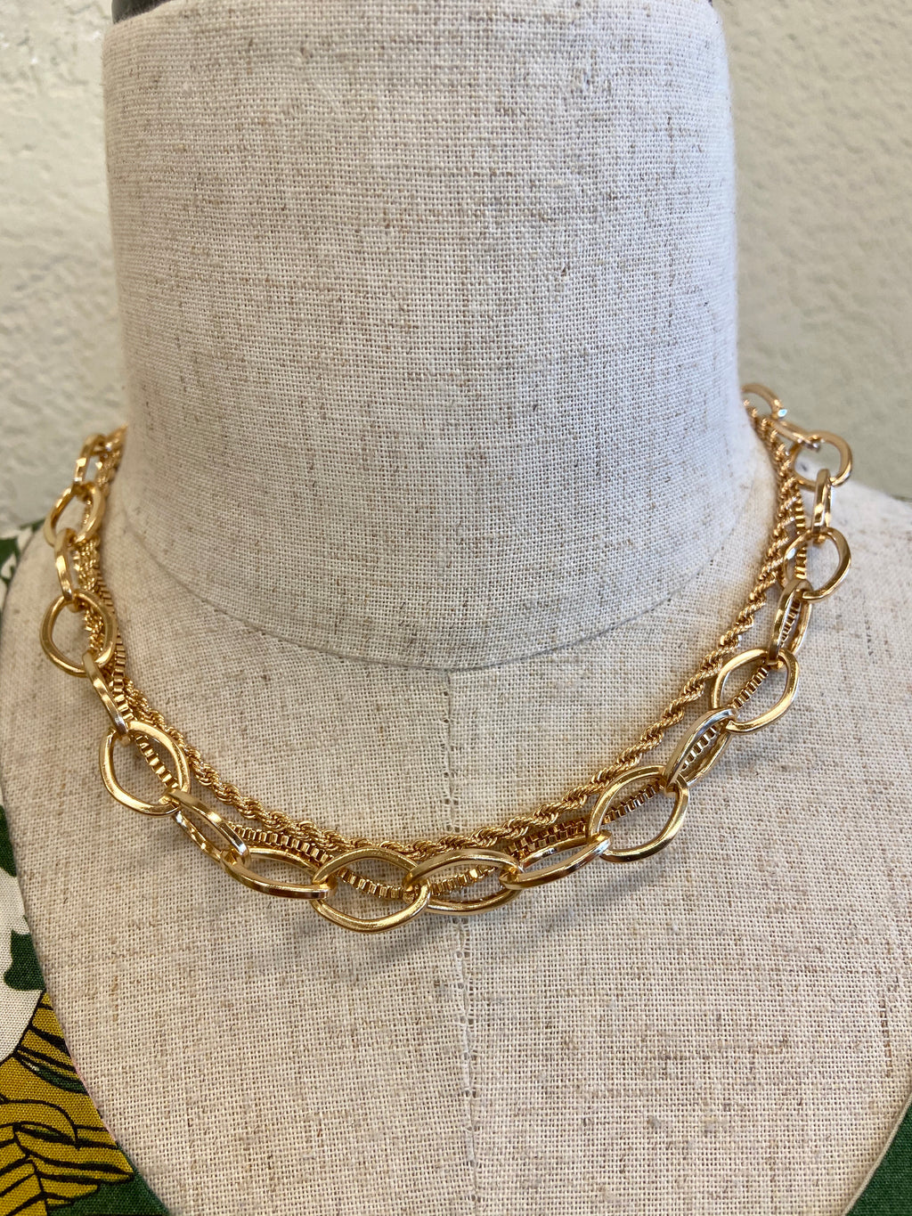 Layered Gold Mixed Chain Necklace