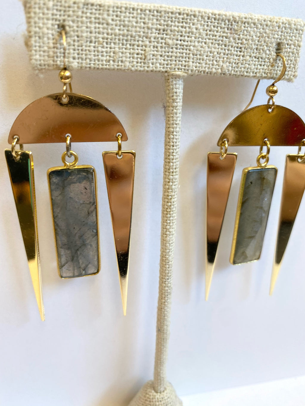 Rectangle Labradorite Spike Earrings