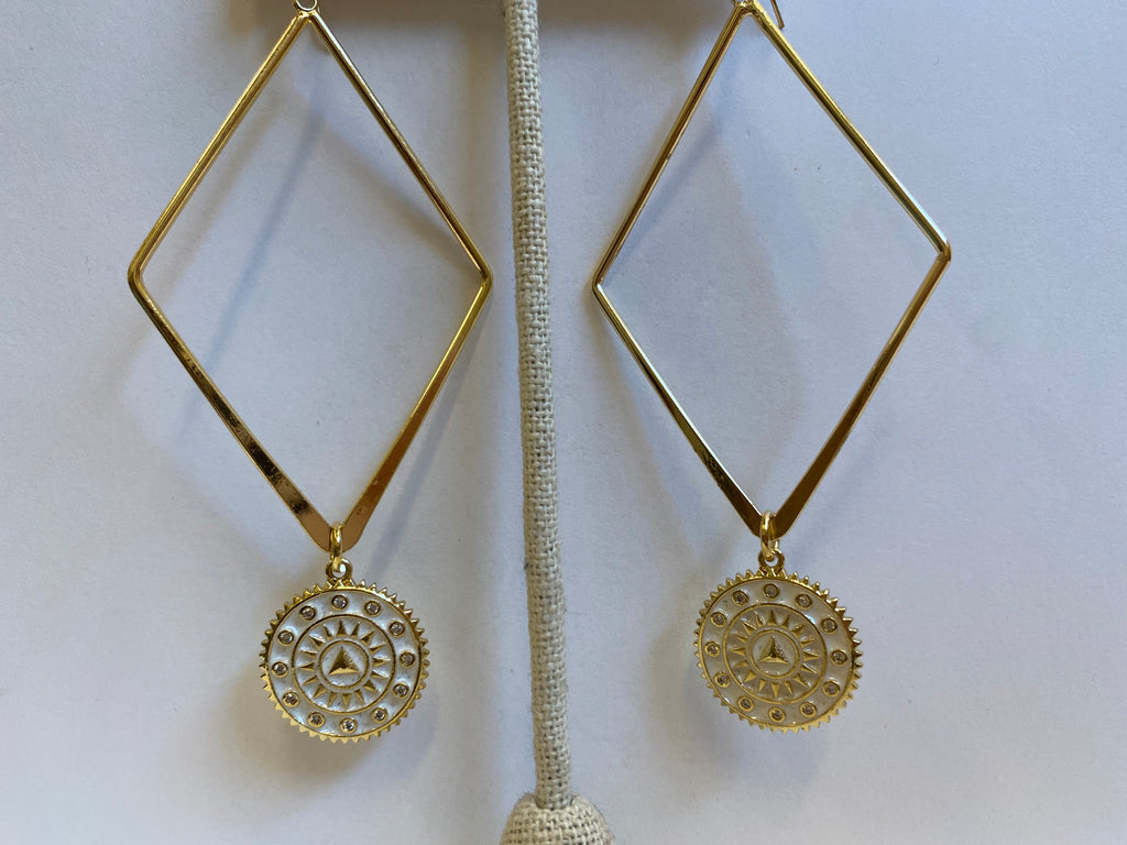 White Sun Dial Earrings
