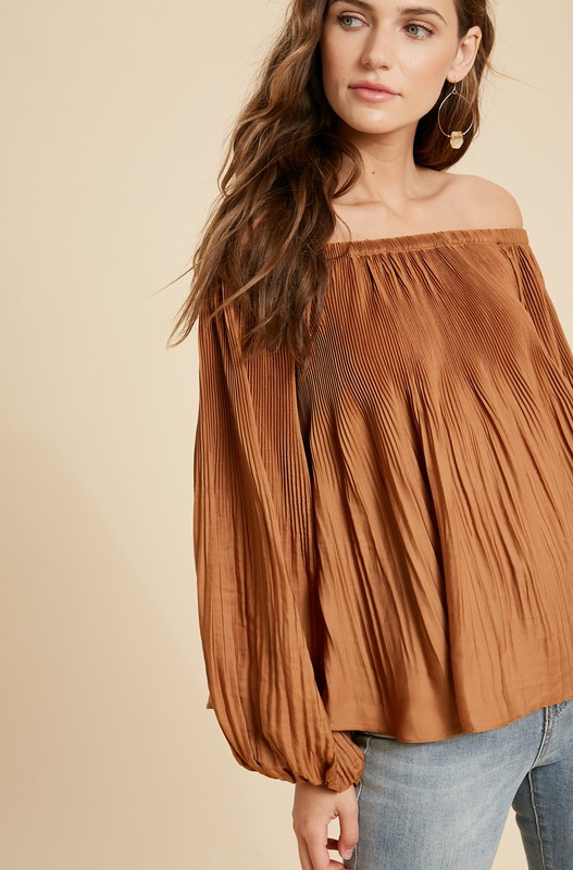Pleated Off-Shoulder Blouse