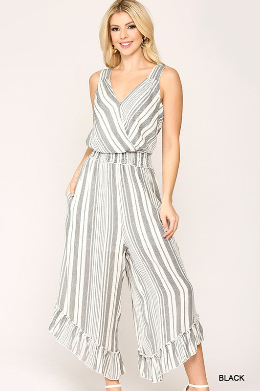Striped Surplice Neck Jumpsuit