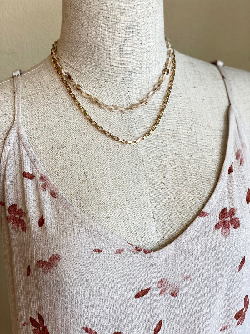 Layered Gold and Natural Chain Necklace