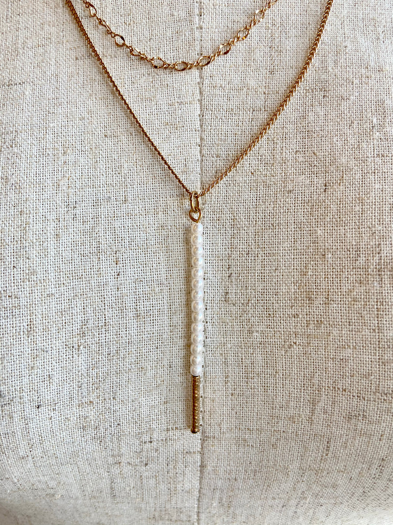 Layered White Bead Necklace