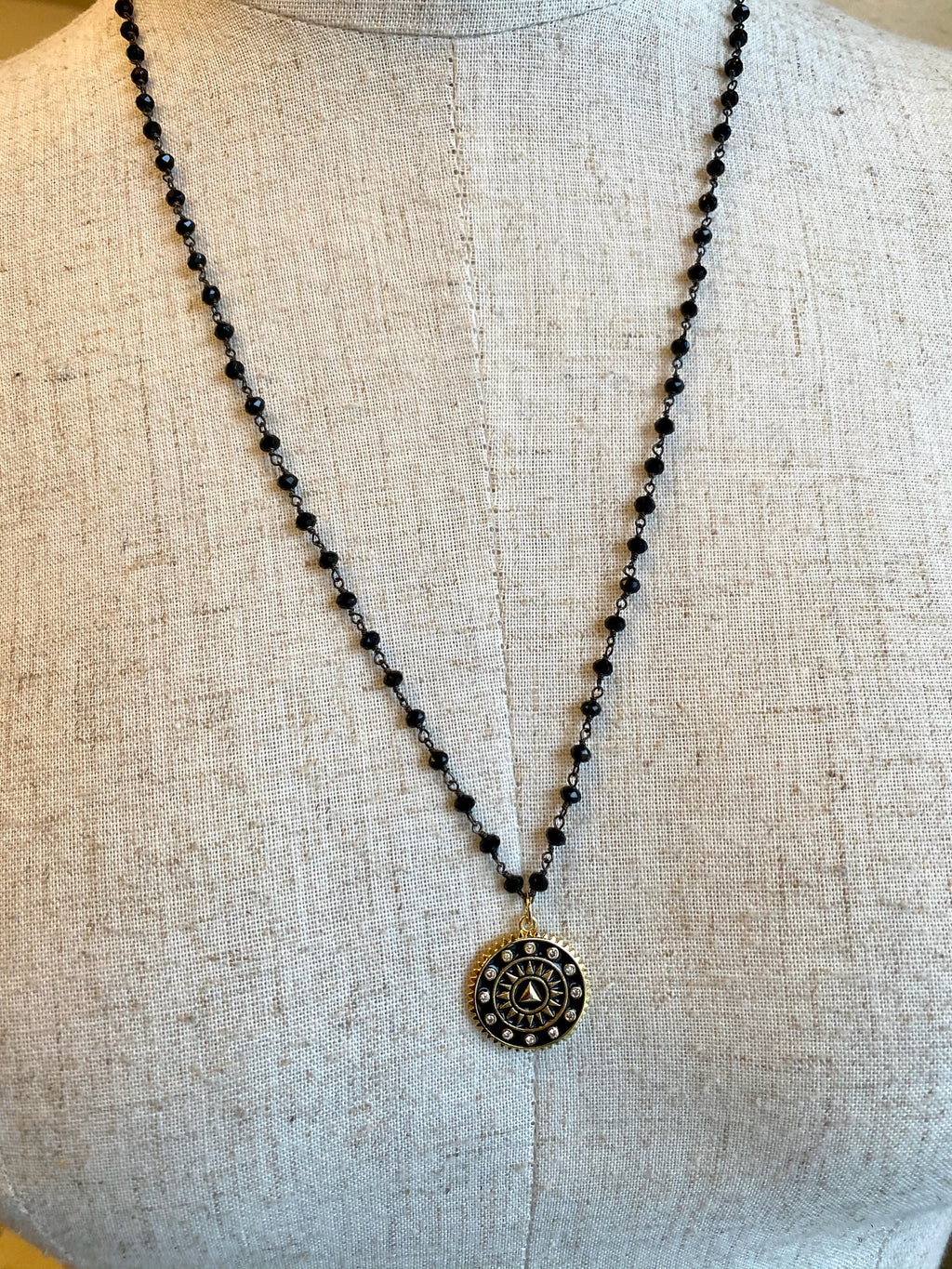Onyx Beaded Black Coin Sun Dial Necklace