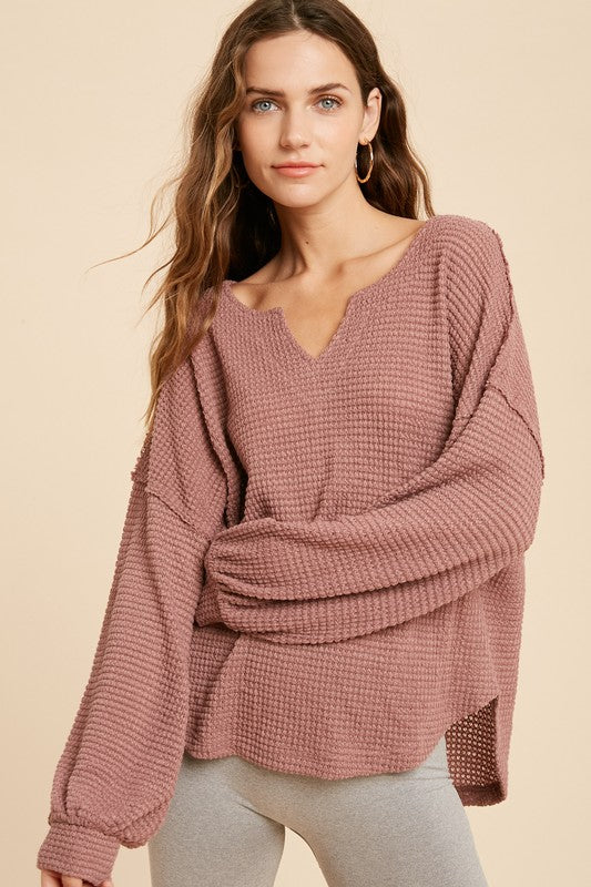 Waffle Raw Edge Knit Top