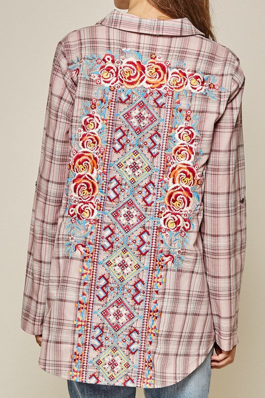 Embroidered Flannel Top