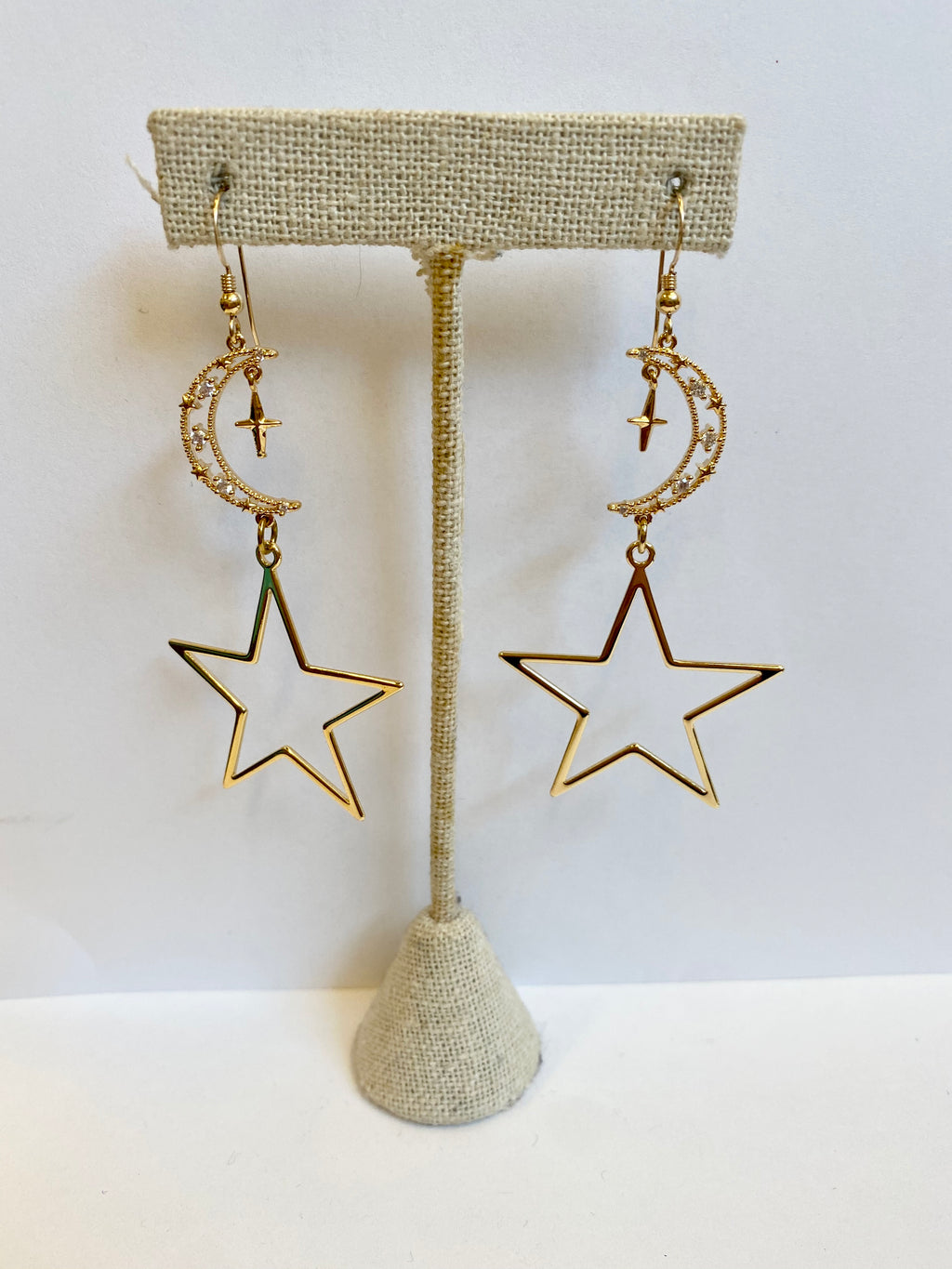 Gold Moon with Star Earrings
