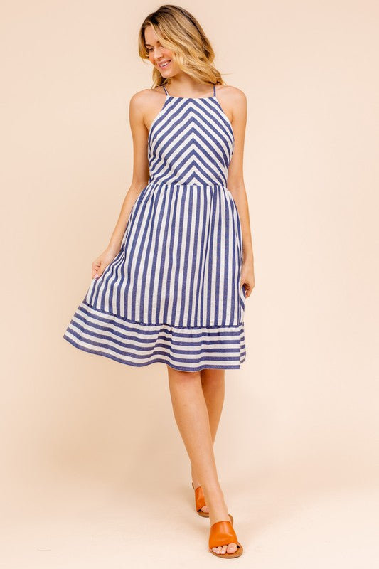 Striped High Neck Dress